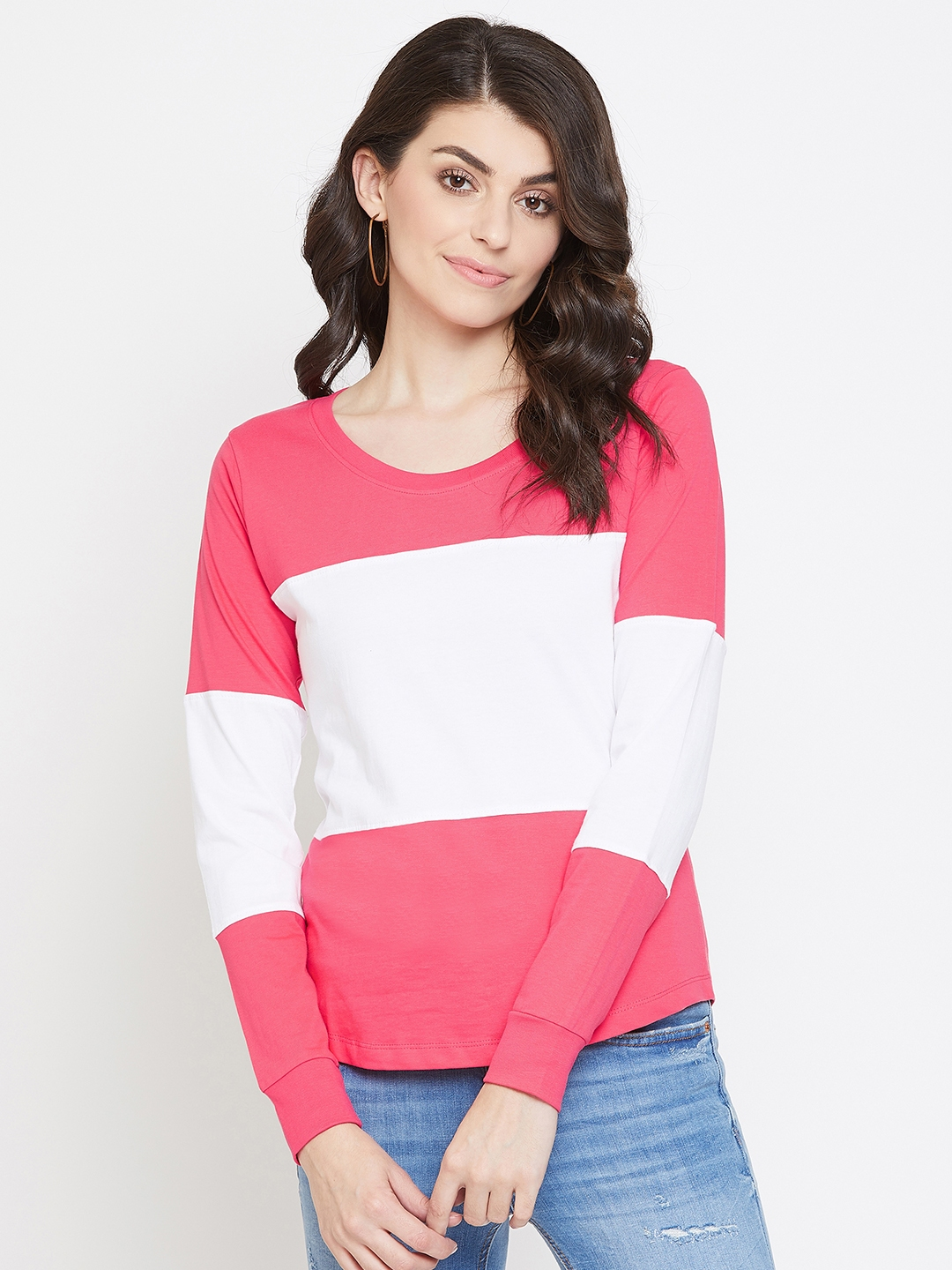 Jhankhi   Pink and White Colourblocked Full Sleeves T-Shirts