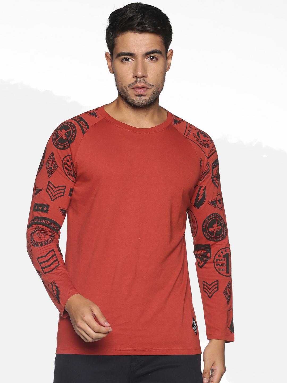 OHA BOY | OHA BOY Mens  RED OCHRE 100% COTTON ROUND NECK T- shirt