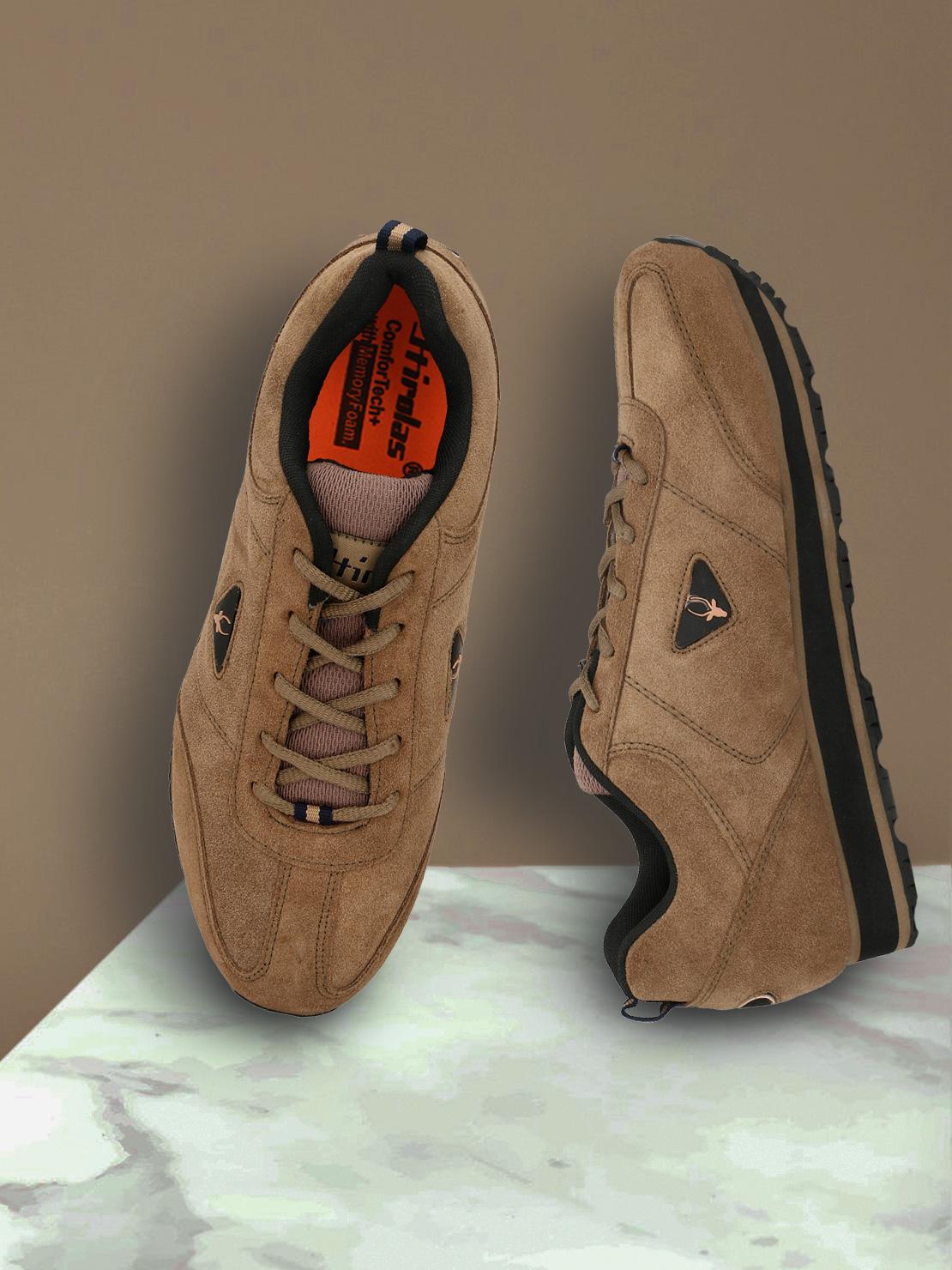 Hirolas   Hirolas Leather Multi Sport Shock Absorbing Walking  Running Fitness Athletic Training Gym Sneaker Shoes - Camel