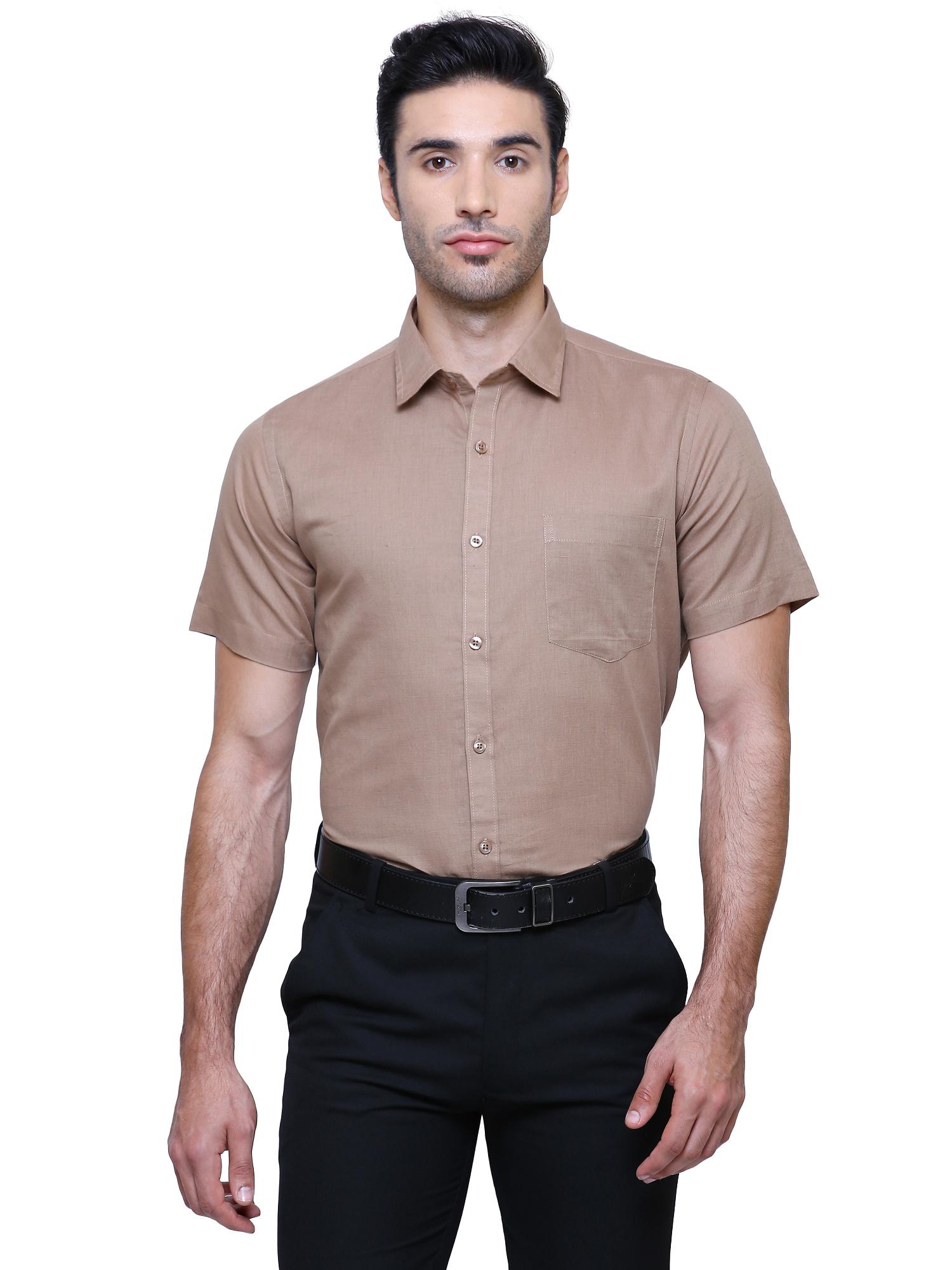 Southbay | Southbay Men's Dark Beige Half Sleeve Linen Cotton Formal Shirt-SBCLHS232BE