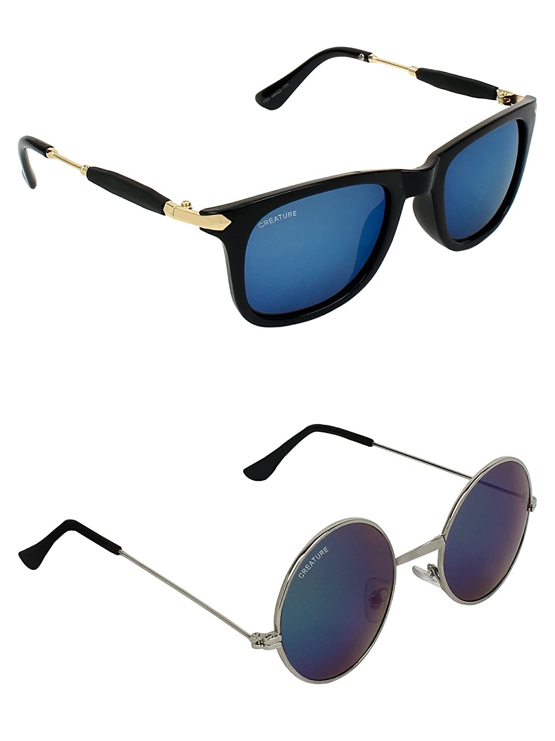 CREATURE | CREATURE Blue Round Sunglasses Combo with UV Protection (Lens-Blue|Frame-Black & Silver)