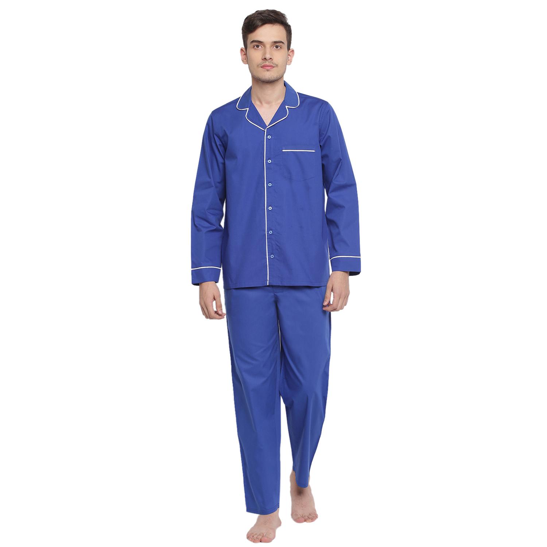 La Intimo | Royal Blue Woven Pyjama Shirt set