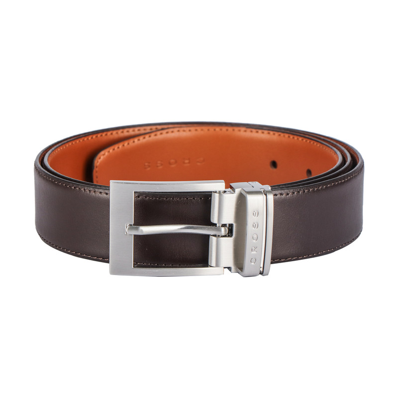 Turtle | Mens Leathher Belt - 35mm Pronged brushed nickel finish buckle with leather strap finish(Reversible).