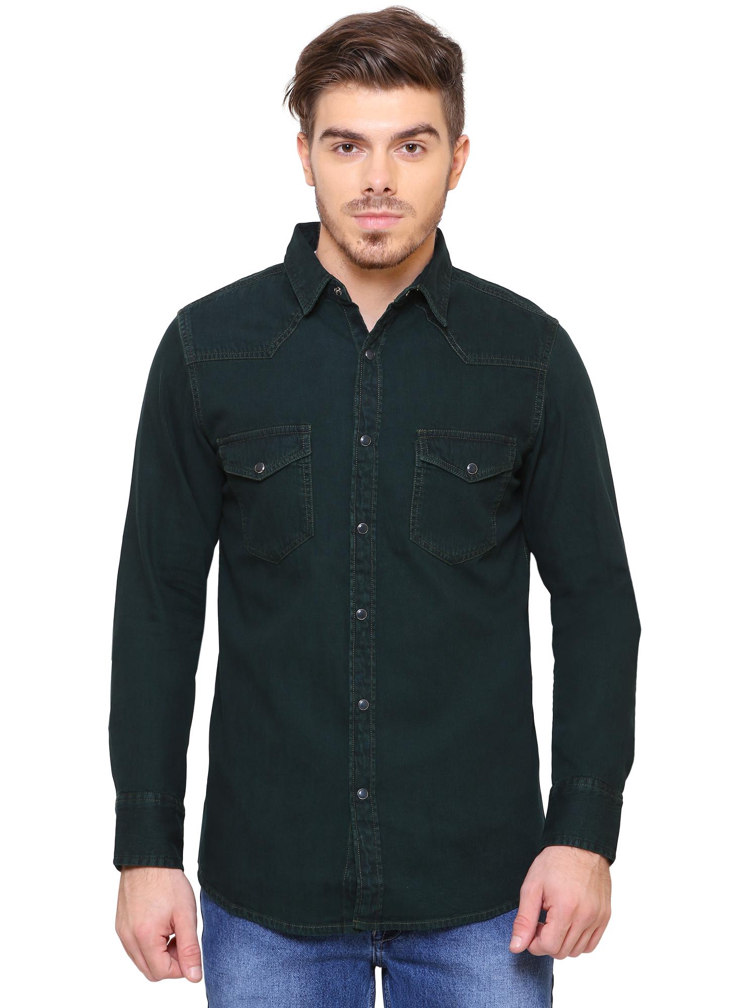 Southbay | Southbay Men's Green Casual Denim Shirt- SBCLFS808GE