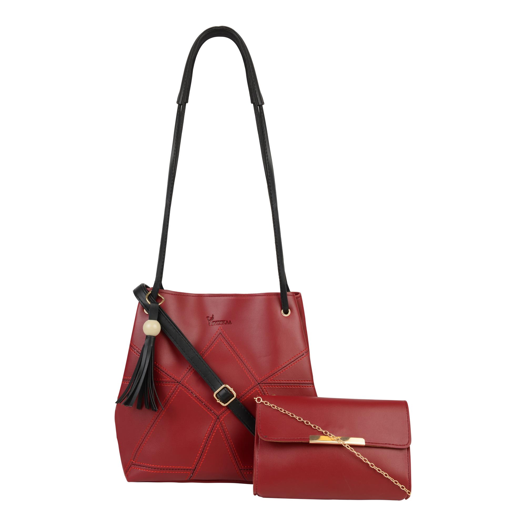 Vivinkaa   Vivinkaa Leatherette Set of 2 Embroidered Wine Sling Bag