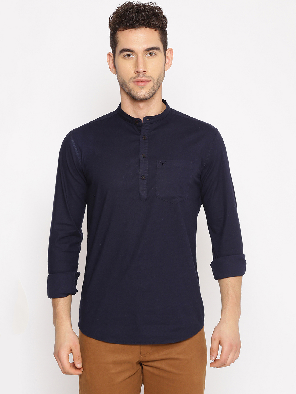 Showoff | SHOWOFF Men's  Cotton Casual Navy Solid Slim Fit Kurta
