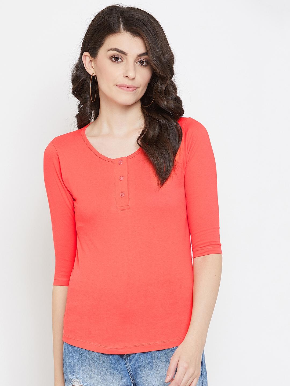 Jhankhi | Orange Henley T-shirts