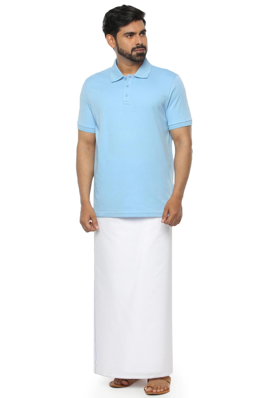 Unibro | Unibro Men's  Cotton Casual Iris Blue  T- shirt And Dhothi