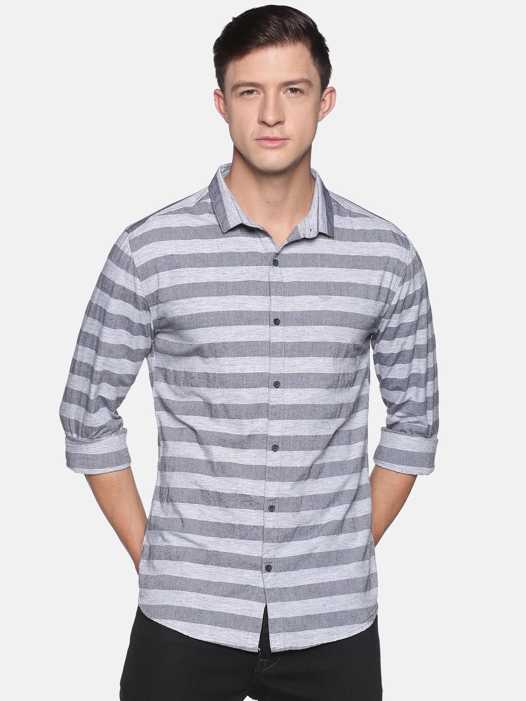 Showoff | SHOWOFF Men's  Cotton Casual GreyBeige Stripes Slim Fit Shirt