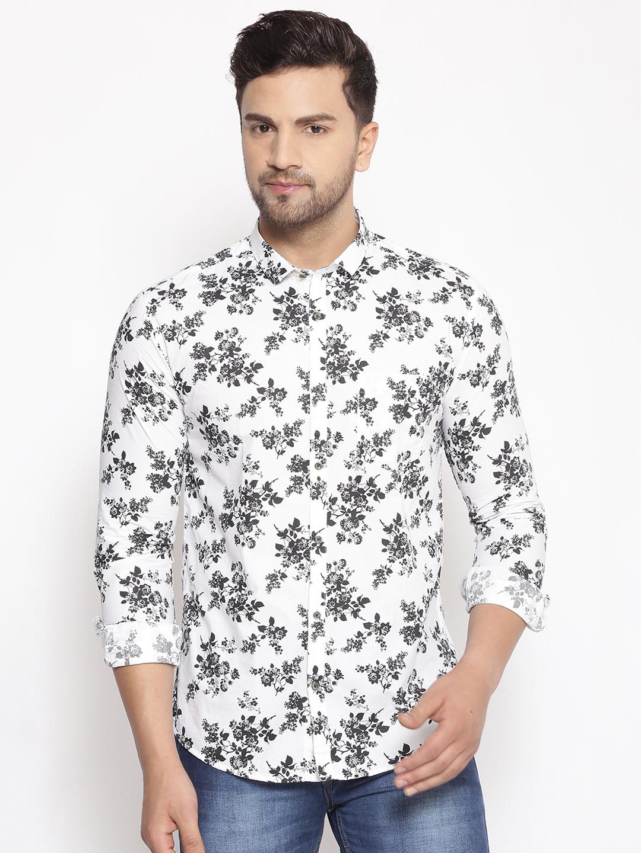 Showoff | SHOWOFF Men's  Cotton  White Printed Slim Fit Shirt