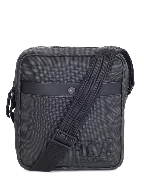 RUGSAK | UNISEX BLACK TEXTURED SNAP BUTTON PREMIUM SLING BAG