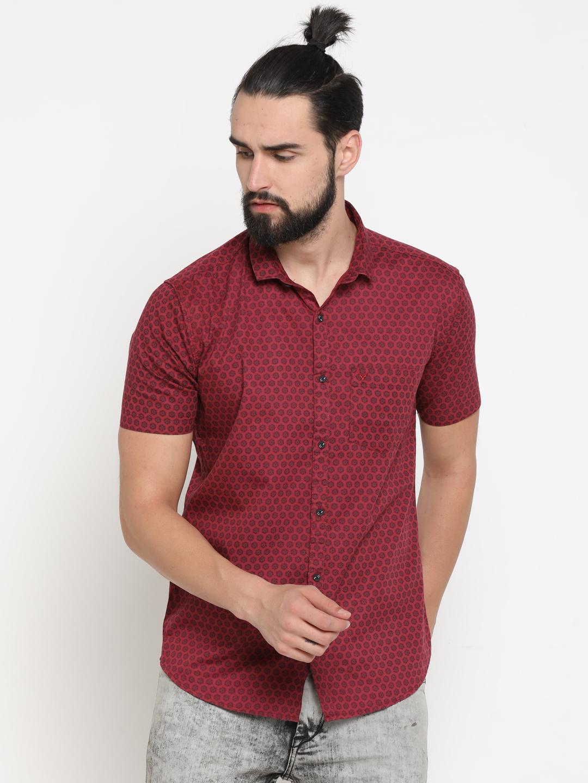 Showoff   Red Showoff Mens Cotton Printed  Slim Casual Shirts