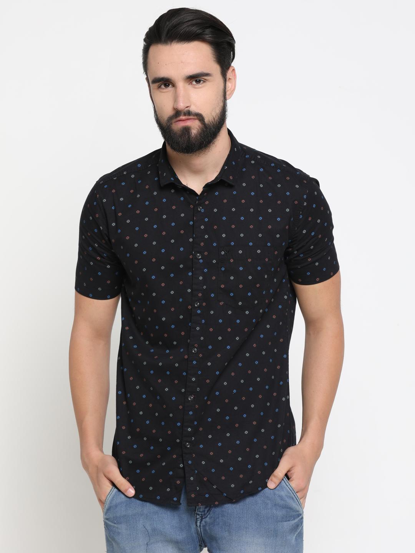 Showoff   Black Showoff Mens Cotton Printed  Slim Casual Shirts