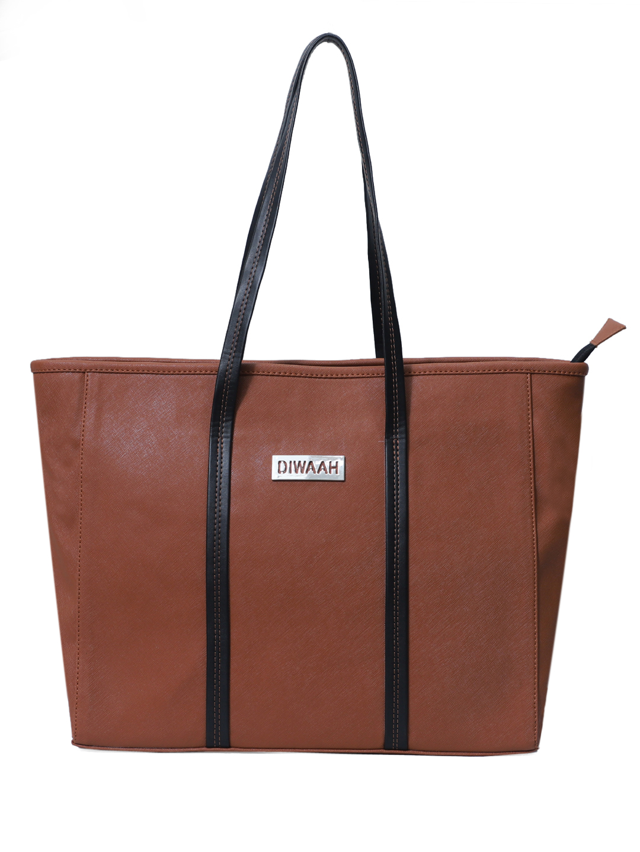 DIWAAH   Diwaah Brown Color Casual Tote Bag