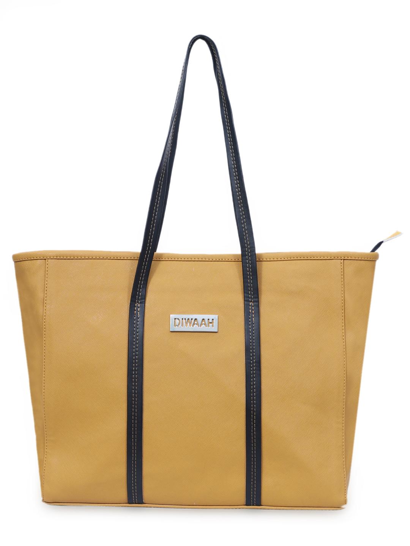 DIWAAH   Diwaah Yellow Color Casual Tote Bag