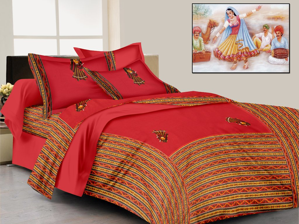 Pinkblock.in   Red Cotton Patchwork Bedsheet