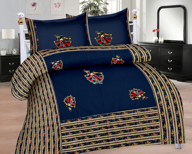 Pinkblock.in | Blue Cotton Patchwork Bedsheet