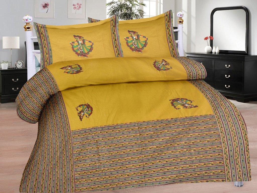 Pinkblock.in   Green Cotton Patchwork Bedsheet