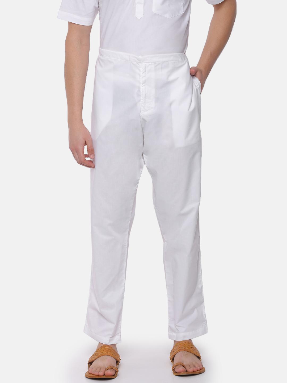 Ramraj Cotton   Ramraj Cotton Men's 100% Cotton Casual White Pyjama