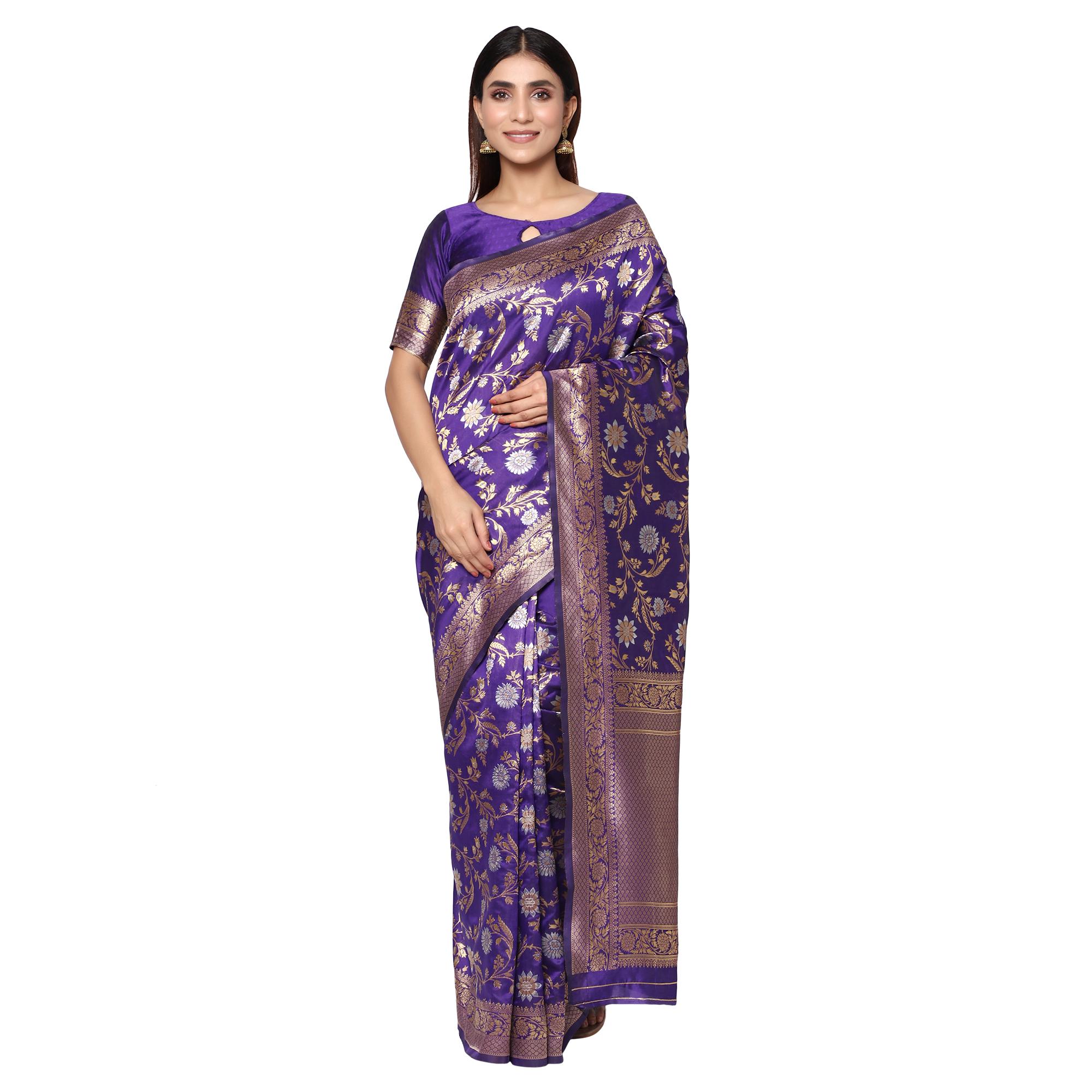 Glemora | Glemora Purple Beautiful Ethnic Wear Silk Blend Banarasi Traditional Saree
