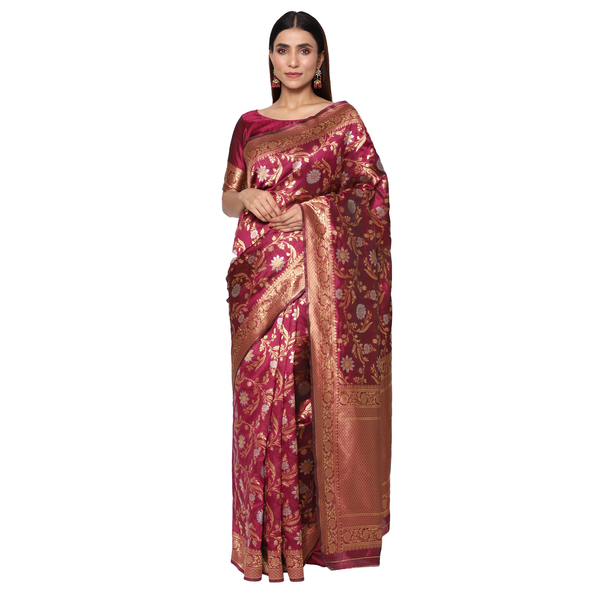 Glemora Wine Beautiful Ethnic Wear Silk Blend Banarasi Traditional Saree