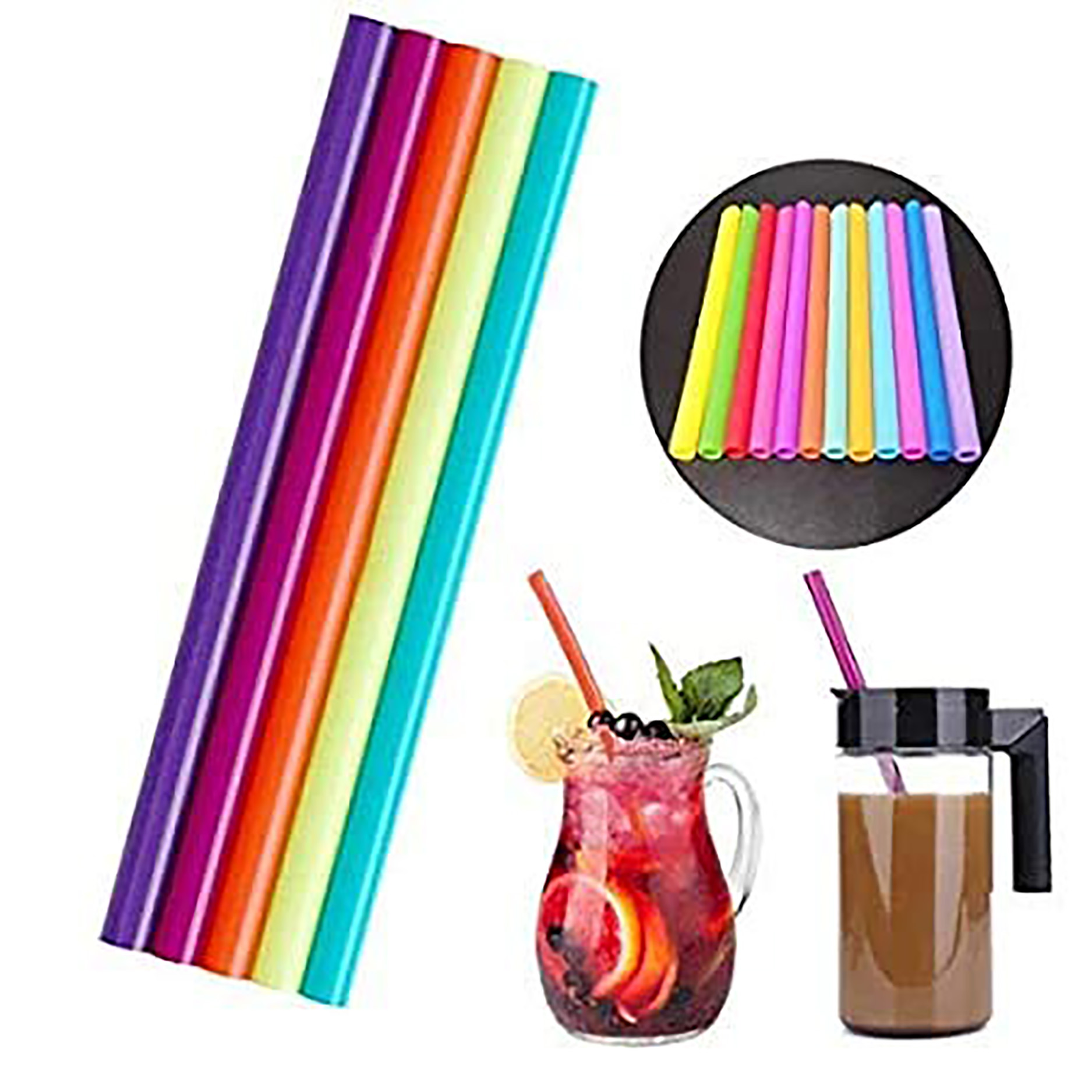iLife | iLife Reusable Smoothie Straws Long Extra Wide Fat Silicone Straws for Drinking Bubble Tea, Milkshakes, Set of 6 with Cleaning Brush (Small)