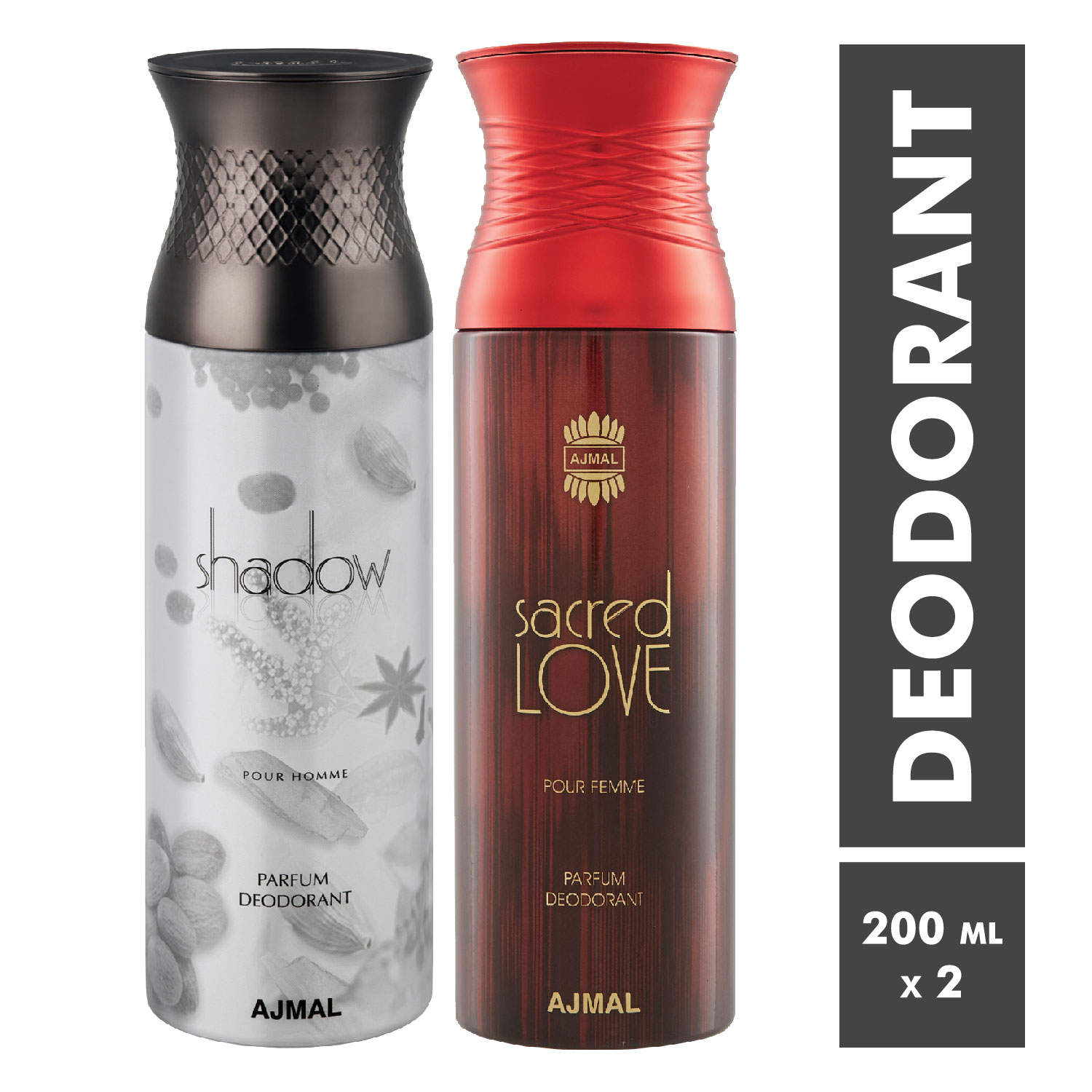 Ajmal | Shadow Homme and Sacred Love Deodorant Spray - Pack of 2