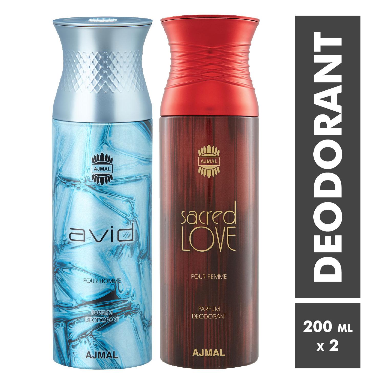 Ajmal | Avid Homme and Sacred Love Deodorant Spray - Pack of 2