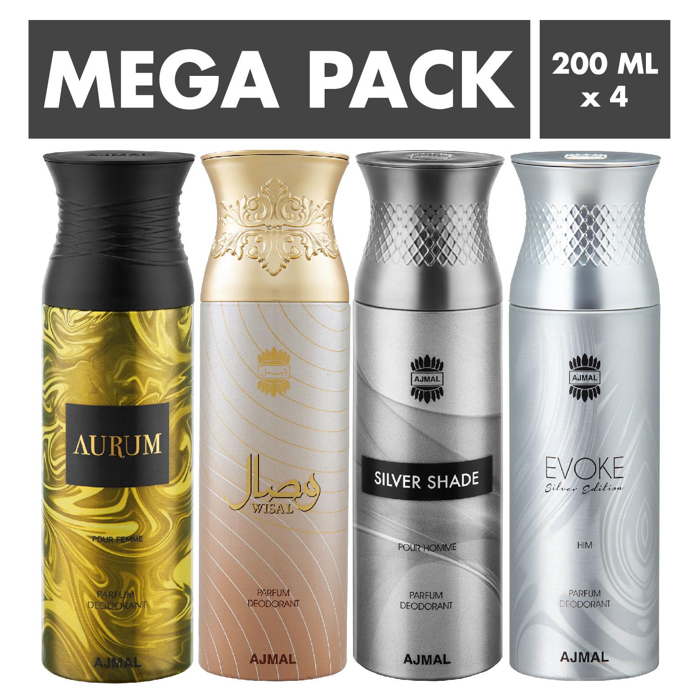 Ajmal   Ajmal Aurum & Wisal & Silver Shade & EvokeSilver Edition Homme Deodorant Spray- For Men (200 ml, Pack of 4)