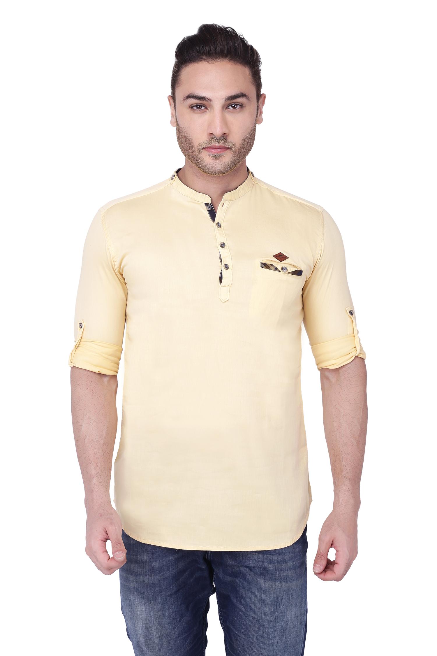 Kuons Avenue | Kuons Avenue Men's Cream Yellow Casual Cotton Kurta- KACLFS1260CYL