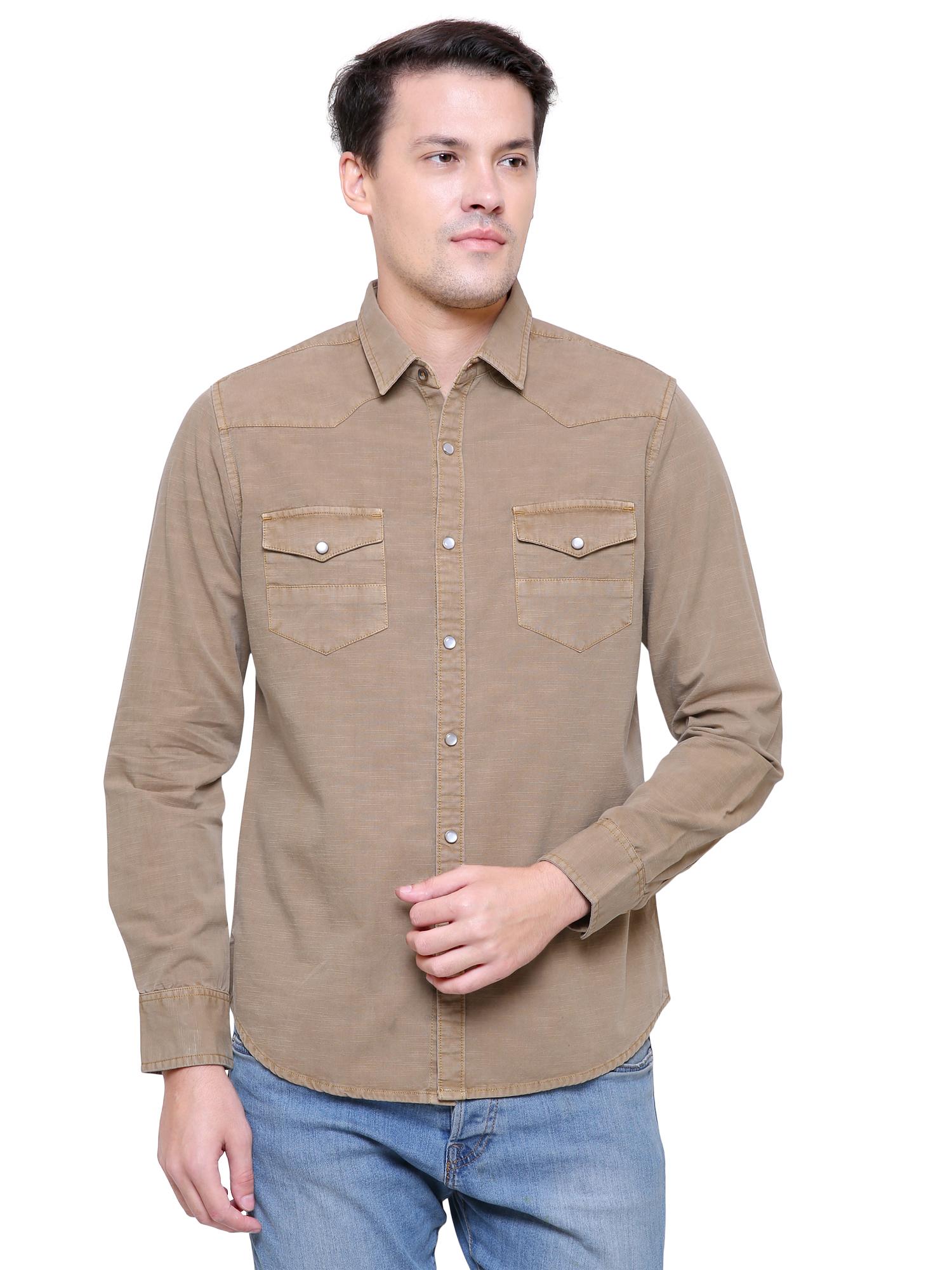 Southbay | Southbay Men's Beige Casual Denim Shirt- SBCLFS985BE