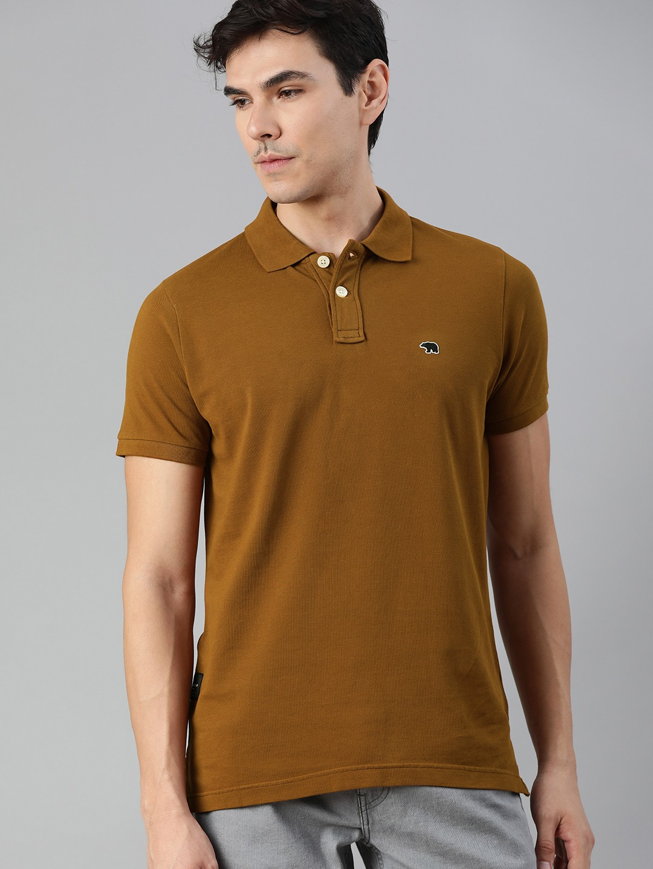 The Bear House | Men Tan Solid Polo Collar T-shirt