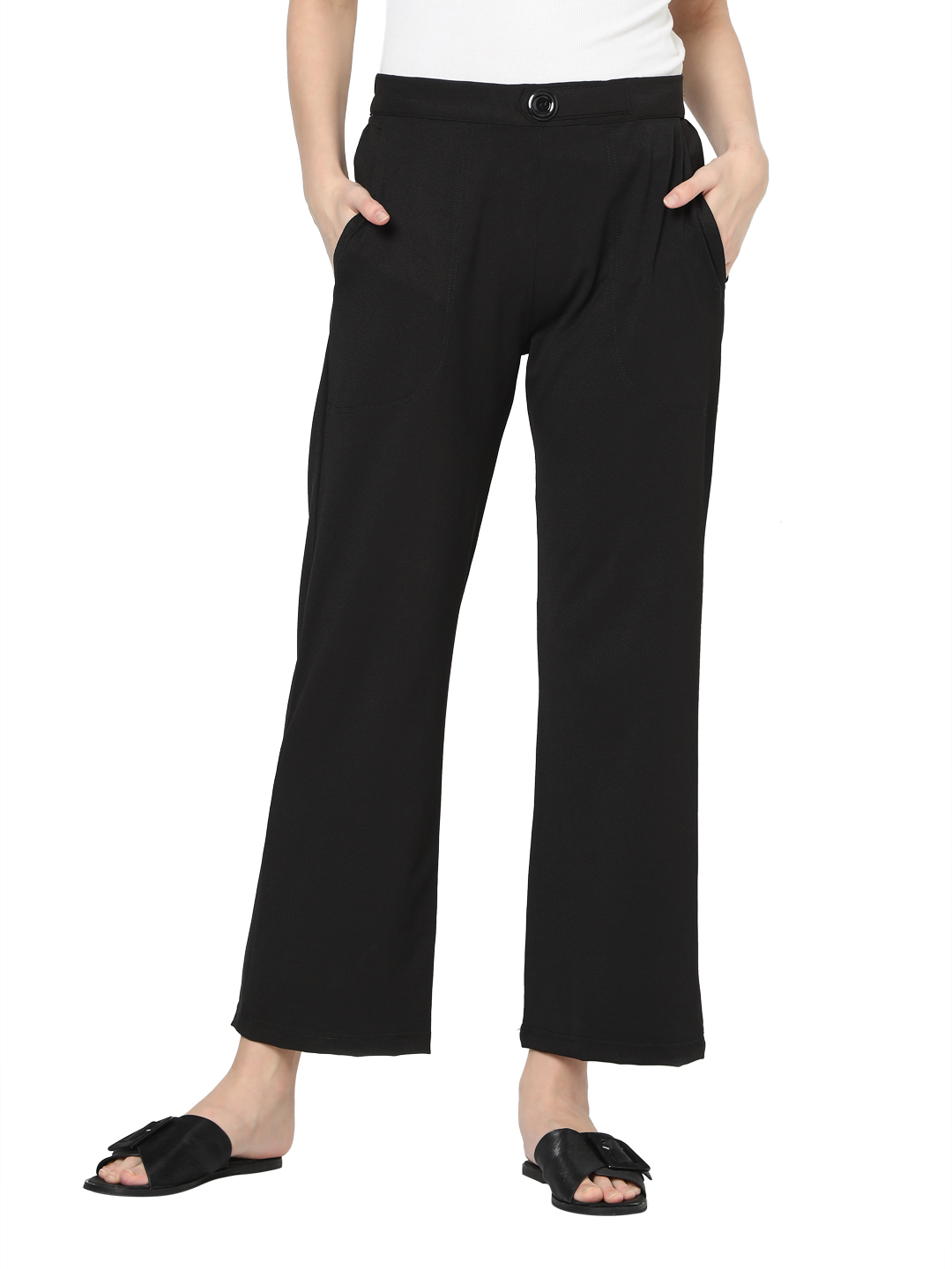 Smarty Pants | Smarty pants women's cotton stretchable black ankle length flared trouser