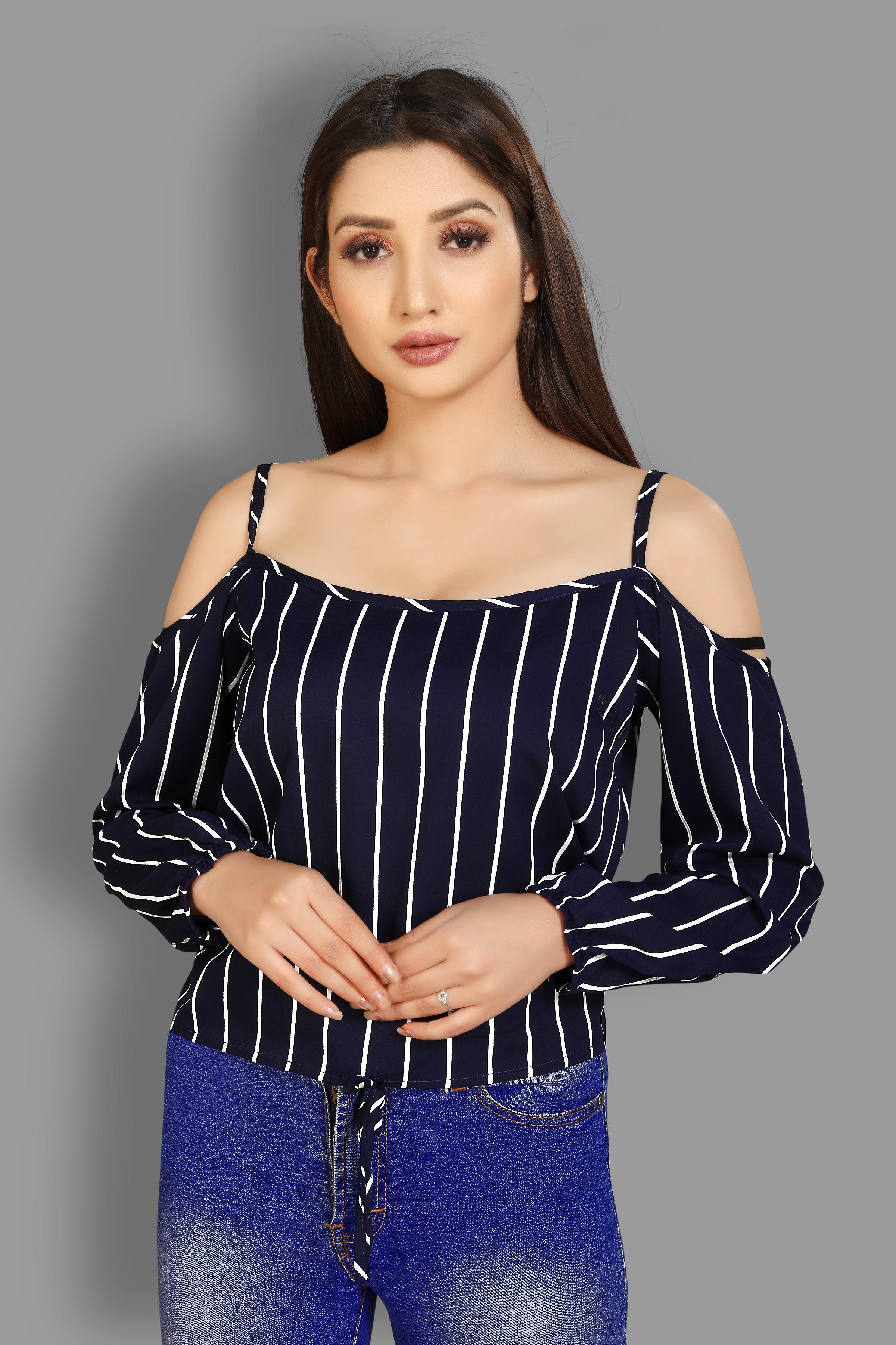 JINAL & JINAL   Party Shoulder Strap Striped Women Dark Blue Top