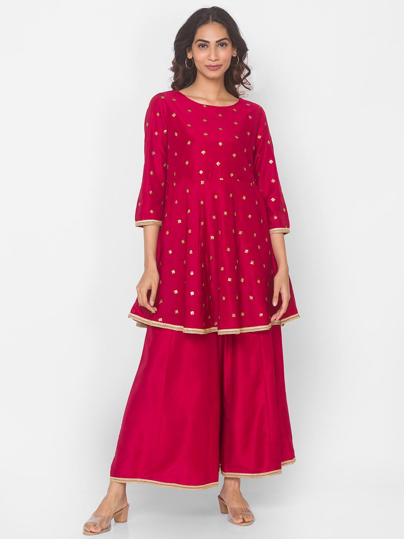 Ethnicity | Red Silk Blend Three-Fourth Occasion Women Skd