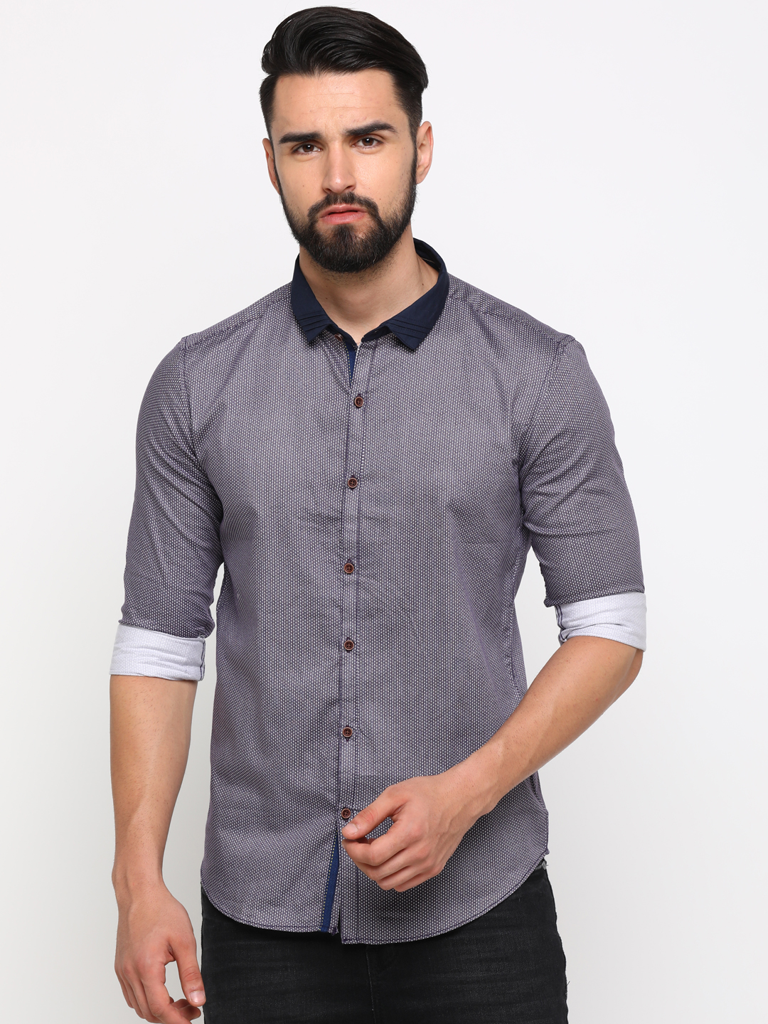 With | With Men's Purple Cotton Printed SlimFit Shirt