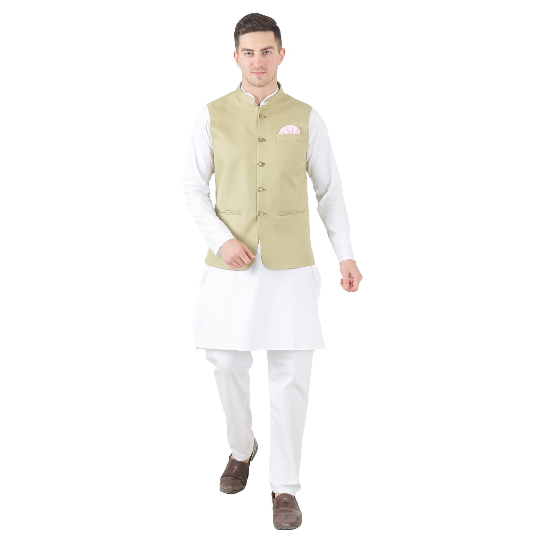 TAHVO   Tahvo Men 5 Button Nehru Jacket with Hanky Kurta Set