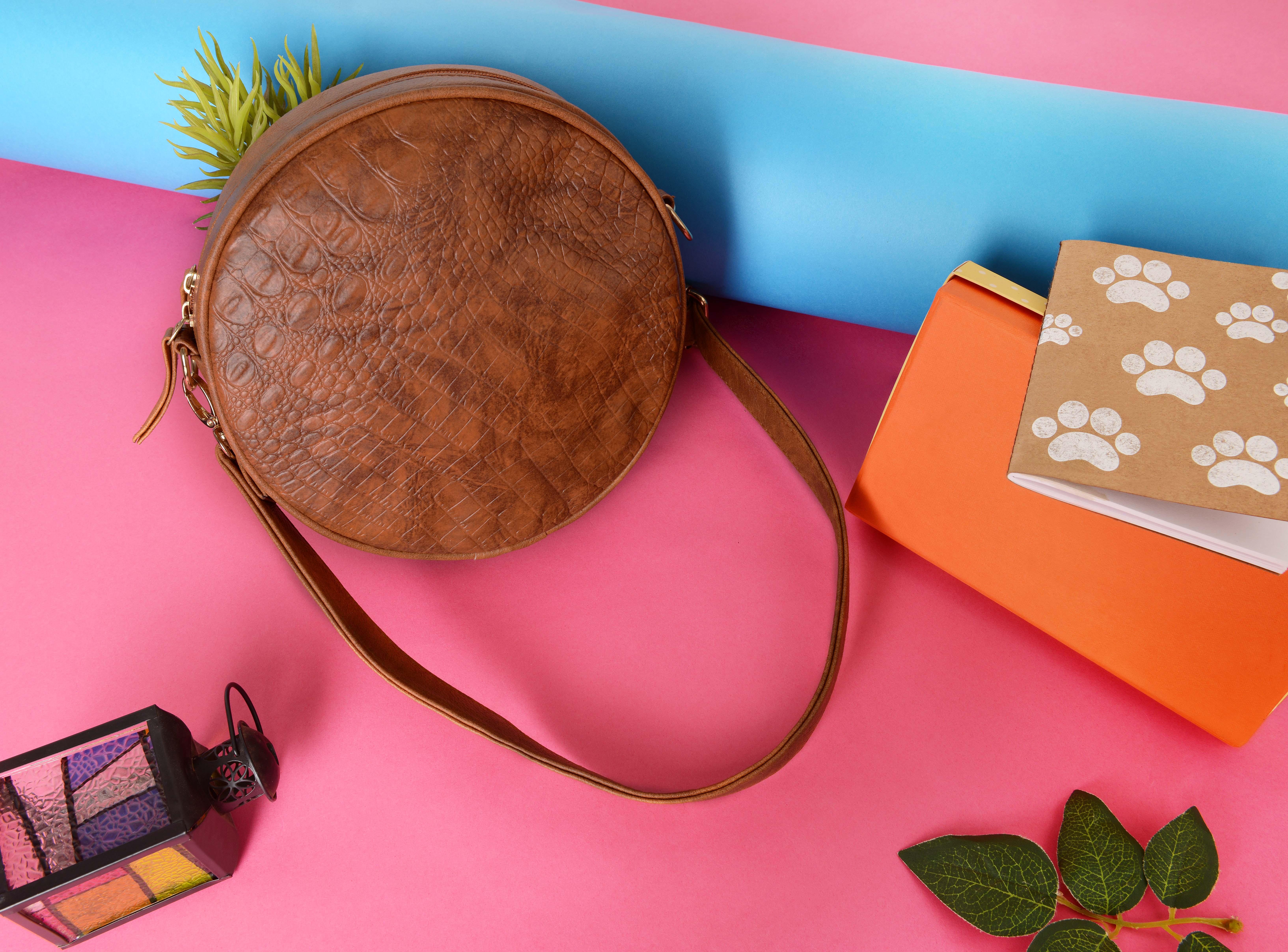 Vivinkaa | Vivinkaa Vegan Leather Tan Croco Textured Round Casual Sling Bag