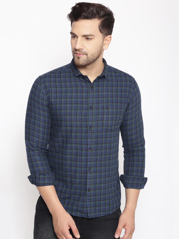 Showoff | SHOWOFF Men's  Cotton  GreenBlue Printed Slim Fit Shirt