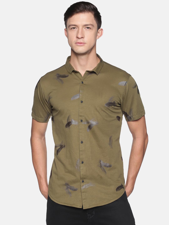 Showoff | SHOWOFF Men's  Cotton Casual Olive Solid Slim Fit Shirt