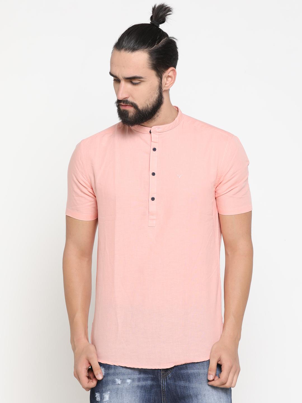 Showoff | Pink Showoff Men's Cotton Solid Slim Casual Kurtas