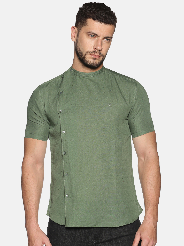 Showoff | SHOWOFF Men's Lenin Casual Green Solid Slim Fit Shirt