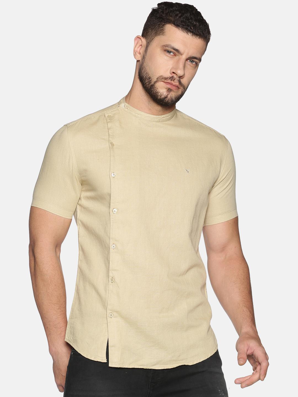 Showoff | SHOWOFF Men's Lenin Casual Beige Solid Slim Fit Shirt