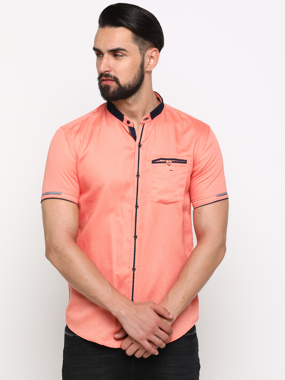 With | With Men's Orange Cotton Checks SlimFit Shirt