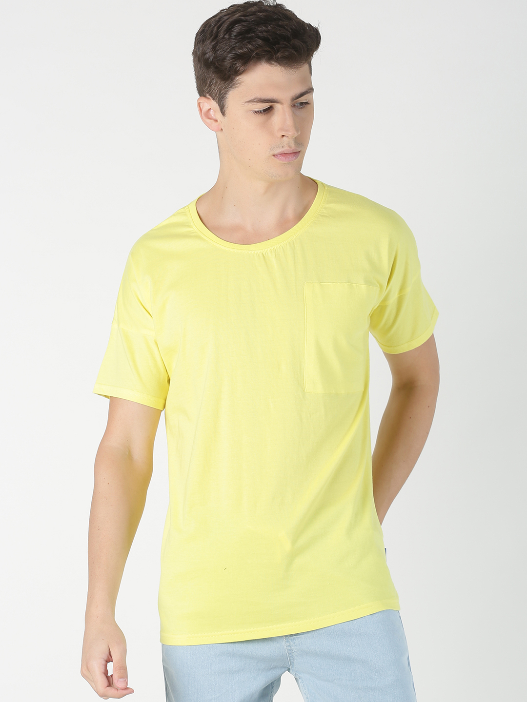 Blue Saint | Blue Saint Men's Solid Yellow T-Shirt