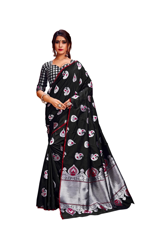 Glemora | Glemora Black Lichi Silk Rajashree Saree With Unstitched Blouse