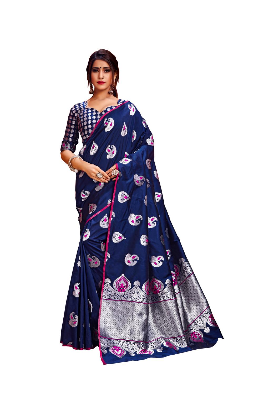 Glemora Navy Blue Lichi Silk Rajashree Saree With Unstitched Blouse