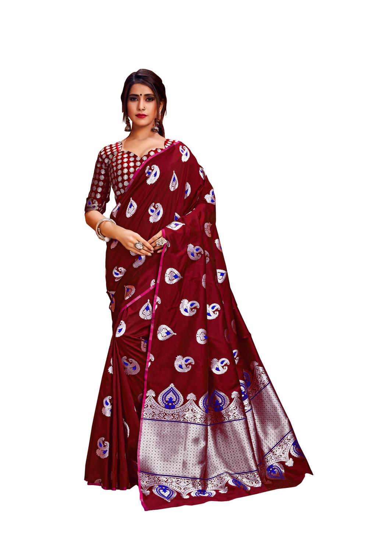 Glemora Red Lichi Silk Rajashree Saree With Unstitched Blouse