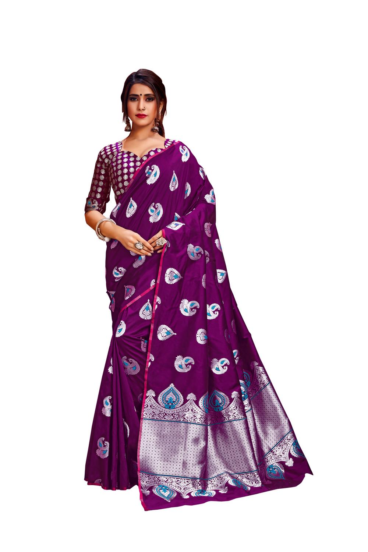Glemora Wine Lichi Silk Rajashree Saree With Unstitched Blouse