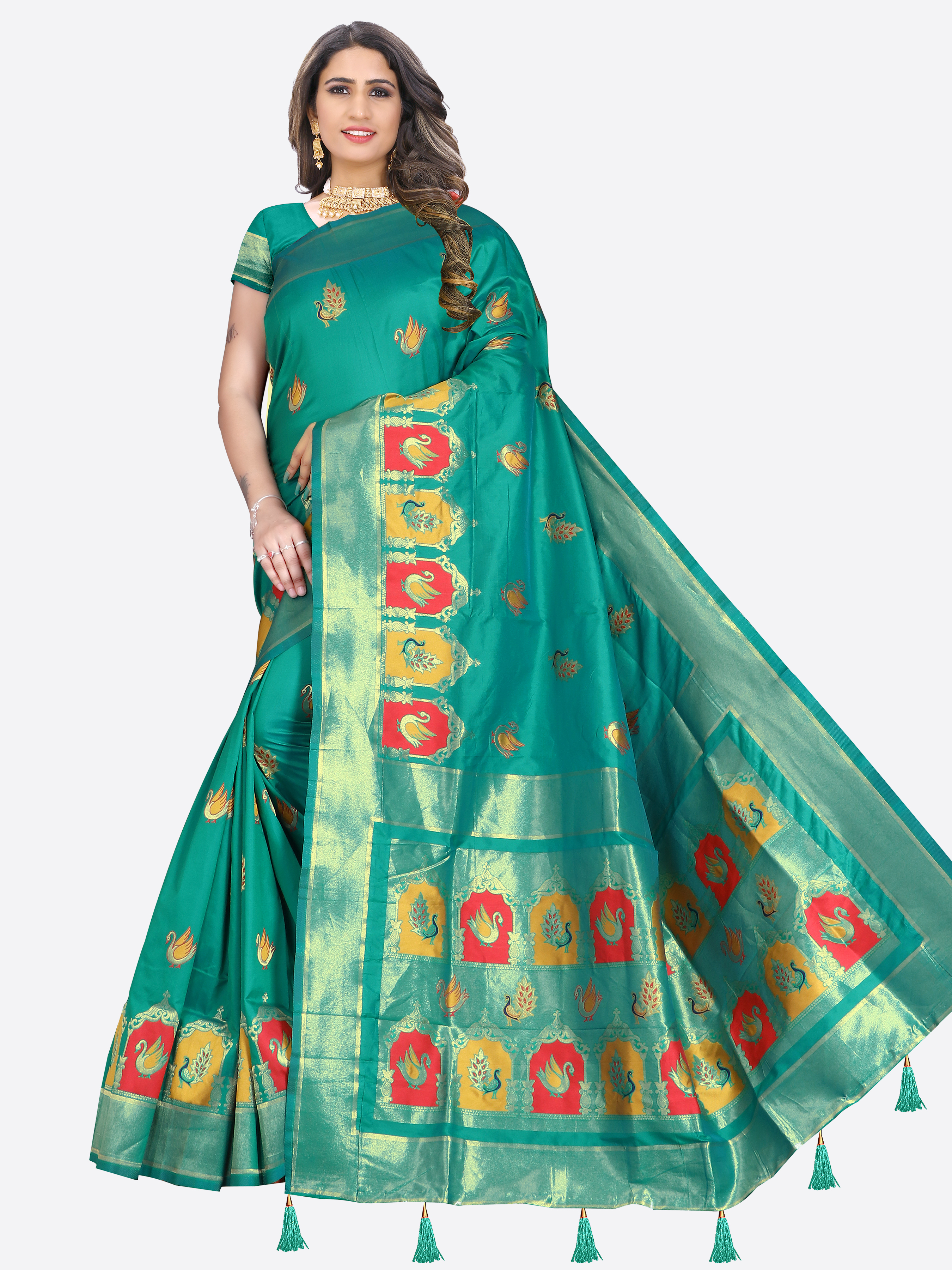 Glemora | Glemora Saree for Women Banarasi Silk With Blouse, Women Silk Sarees ( Green )